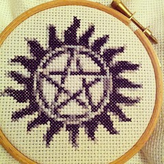Supernatural Cross Stitch (breakbeat) Tags: apple fan tv crossstitch geek 4 craft supernatural iphone