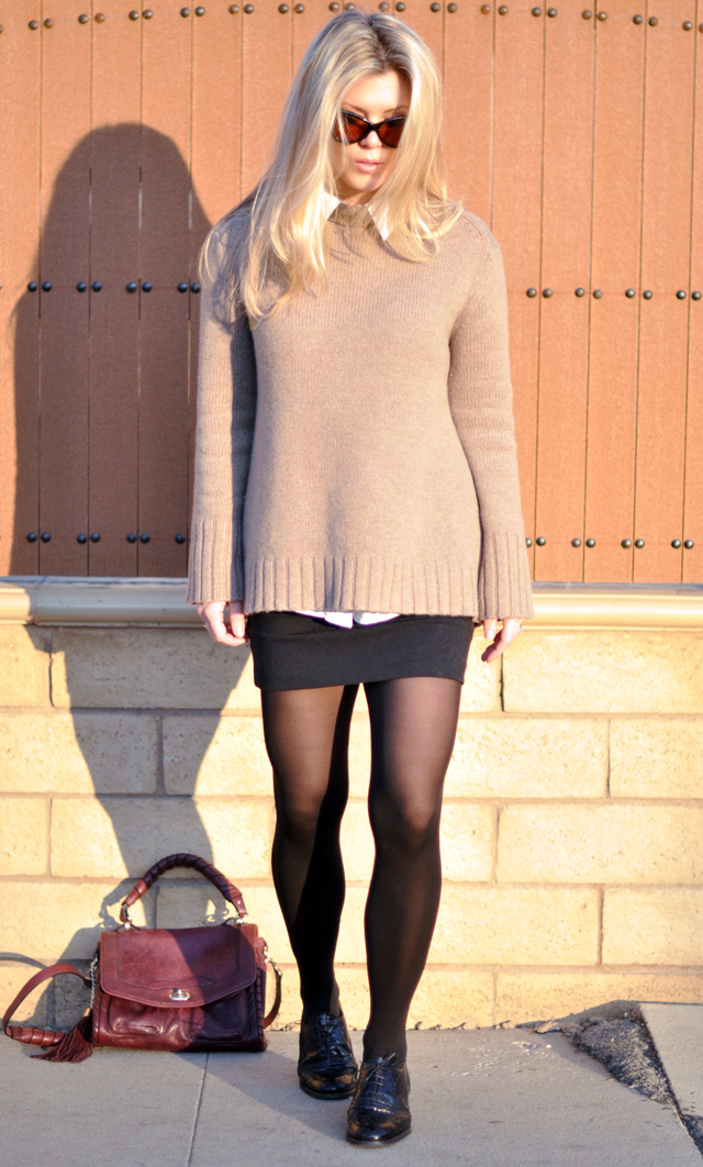 oversized sweater - collar -mini skirt-oxfords