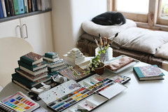 A Studio View (noriko.stardust) Tags: original colour art watercolor painting paper studio book sketch hand handmade journal sketching blogger sketchbook page stuff watercolour material kit marbled bookbinding binding palette paints paintbox imadeitmyself palettes handbound crafted