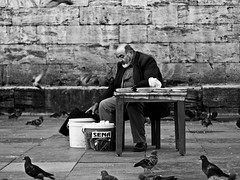 preparing for the day // new mosque, istanbul (pamela ross) Tags: street man bird pen pigeon pigeons seed olympus istanbul sit wait feed prepare ep1
