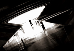 the light washed (bostankorkulugu) Tags: street light blackandwhite bw white man black reflection portugal monochrome station silhouette sepia architecture modern train dark blackwhite graphics europe gare geomet