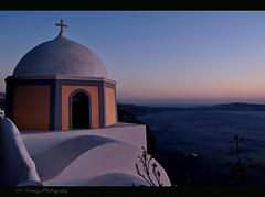 Orthodox Church, Thira Santorini (georgia-l (Busy)) Tags: sunset sea church landscape island greek islands nikon santorini greece caldera bluehour greekislands orthodox fira orthodoxchurch greekisland flickrduel  d5000 flickraward   aigaio  notioaigaio nikond5000 mygearandme flickrawardgallery