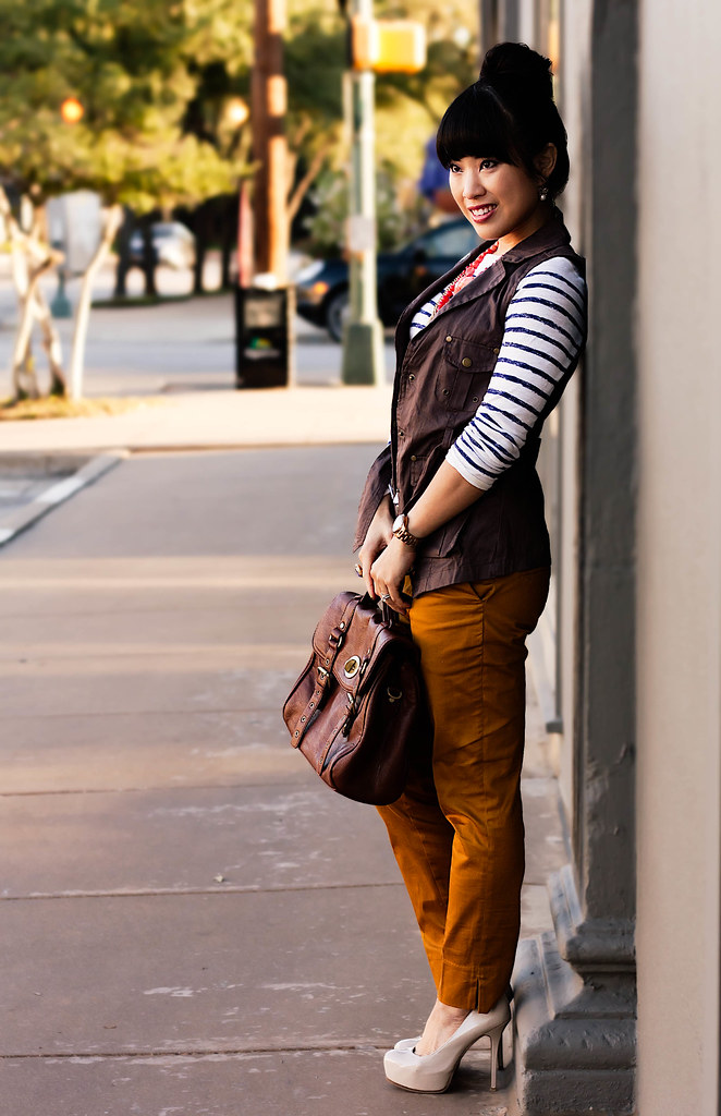 windsor store dried berry cargo vest, loft breton striped shirt, h&m mustard pants, sole society marco santi dash nude pumps, gap brown leather belt, tjmaxx vieta lucille brown satchel, butter london wallis, mac illegal cargo eyeshadow, ysl royal blue arty ring, mk5430 michael kors rose gold small runway, the limited coral gold multistrand necklace