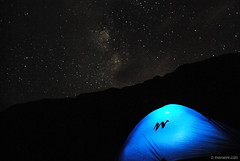 Night under the sky , alone .. at the 7 Rila lakes (.:: Maya ::.) Tags: sky mountain night way stars under tent bulgaria rila milky quechua