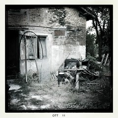 falling into pieces (Angel_KP) Tags: wood trees house tree abandoned window nature grass blackwhite october ruins johns squared iphone hipstamatic blackeysbw