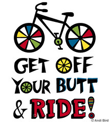 Get Off Your Butt and Ride t graphic (birdarts) Tags: bicycling bikes bicycles transportation mttam mountainbiking vectors whitetshirt sharetheroad clunker burningrubber fattires mountainbikes ridebike printedtshirt bestbike tshirtgraphics bikesnob biketshirt andibird saveacar savegastshirt getoffyourbuttandride