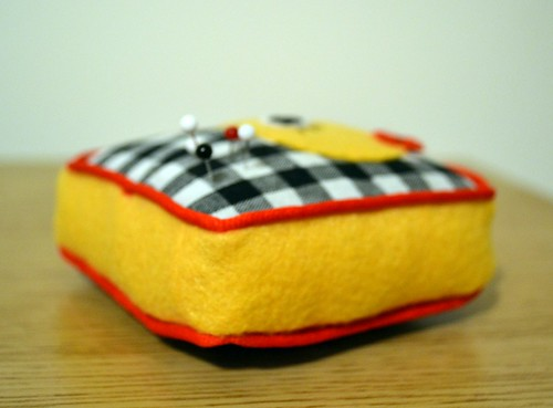 'Sew chick' pin cushion side view