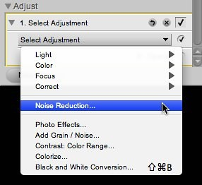 Select the Noise Reduction adjustment