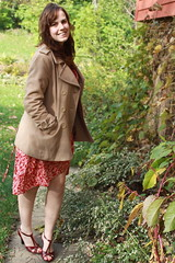 Outfit - vintage wrap dress, target t-strap shoes, camel coat