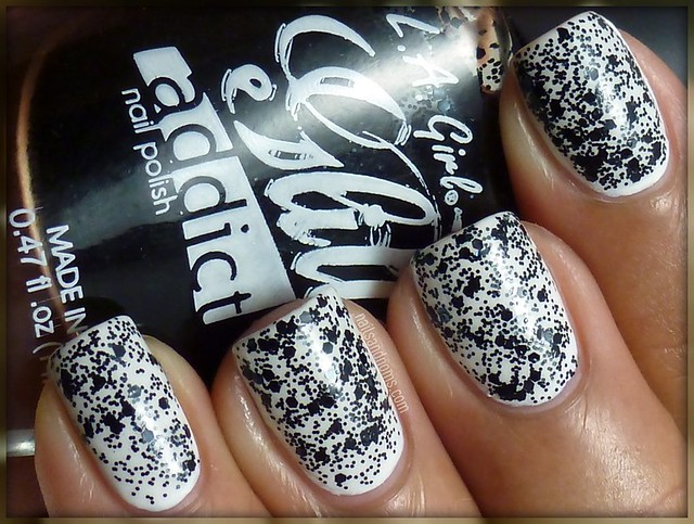 Day 7 (Black & White Nails) - Wet n Wild French White Creme & L.A. Girl Glitter Addict Uninhibited
