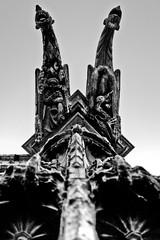 Gothic twins (Jrmie POUTRAIN) Tags: white black france church against stone noir pierre top low gothic diving symmetry gargoyle rouen symmetric normandie bas normandy blanc gothique eglise hdr gargouille contre plonge dreamcatcher haut symetrie blackwhitephotos symetrique