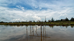 #850C4563- Fishing huts in Ambalat (Zoemies...) Tags: beach clouds reflections huts pondok pantai fishpool balikpapan ambalat zoemies