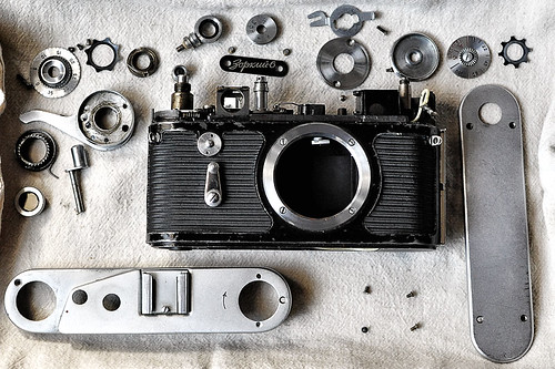365 Day 290: Camera Porn: Dismantled Zorki 6 Rangefinder Camera by ★ 0091436 ★