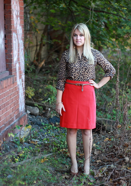 What to Wear to Work: Red Skirt and Leopard Blouse