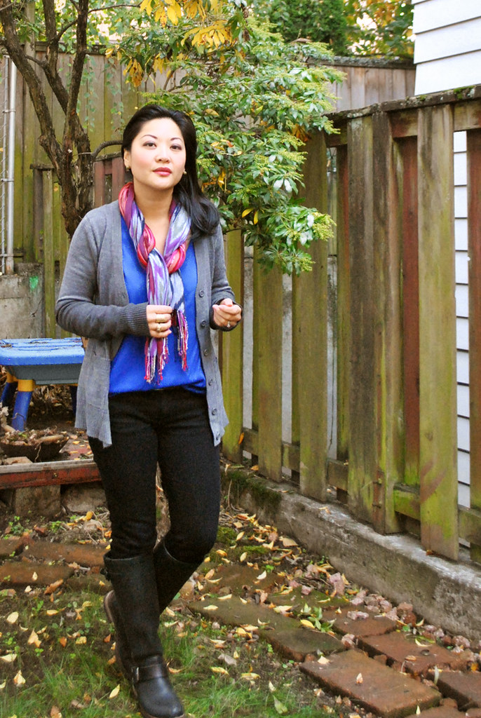 Fall Outfit - Gray Cardigan - Snakeskin Skinny Belt - Royal Blue Top - Black Pants - Tall Aldo Boots - diy arm warmers