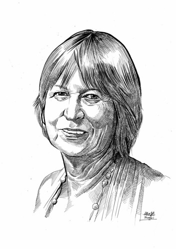 portrait in pen and brush of Dr. Margaret Smyth