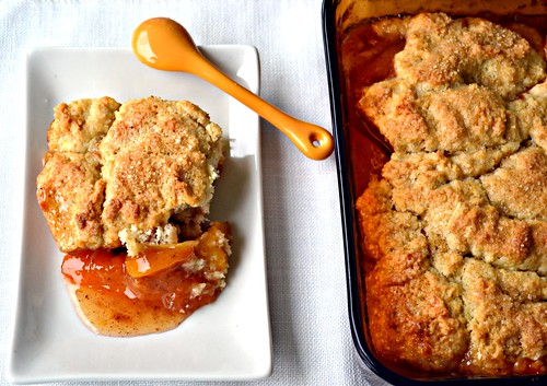 Spiced Peach Nog Cobbler