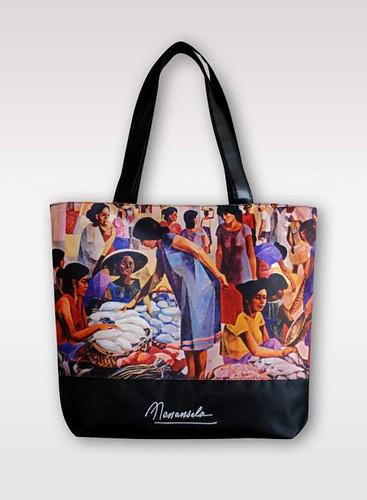Canvass Tote bag with Manansala Market Scene print P695