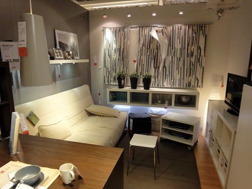 イケアの家具で作るワンルームの例と題した写真