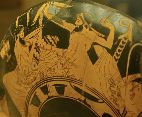 Bevedor i Jugador del còtabos en Simposi un, exterior d'un Cilix de Duris, Museos Vaticanos, Roma por Sebastià Giralt