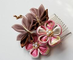 When Fall Whispers of Elegence (Bright Wish Kanzashi) Tags: pink brown flower art hair asian japanese leaf pin handmade metallic ivory style ornament fabric ornate fiber technique tsumami kanzashi