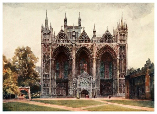 014-Peterborough fachada oeste- Cathedral cities of England 1908- William Wiehe Collins