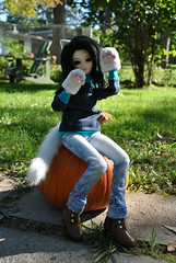 Happy Halloween (Dreaming Magpie) Tags: fall halloween girl female cat fur pumpkin outside happy paw doll slim candy boots tail ears jeans wig ear meow haunting neko paws dollfie mode goodies fairyland msd nya nekomimi mnf shushu minifee
