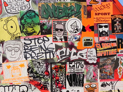 stickercombo (wojofoto) Tags: streetart amsterdam stickerart dusk stickers hof combo stickercombo wojo flevopark wojofoto