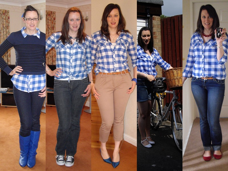 Blue & white check shirt collage 1