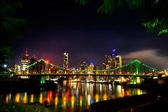 Brisbane City 3 (Rachel Manns) Tags: longexposure night clouds reflections stars photography australia brisbane citylights queensland cbd brisbaneriver storybridge rachelmanns