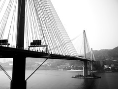 Tsing Ma Bridge   (Fion N.) Tags: life china city urban blackandwhite bw hongkong living asia cityscape     tsingmabridge gf1  panasoniclumixgf1