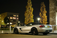 Viper SRT-10 Roadster (Raoul Automotive Photography) Tags: 2003 lighting light moon holland tree netherlands dutch night work dark outside star mercedes benz evening spider darkness 10 sony parking tripod rear wide band picture nederland convertible spot spyder butcher v filter sound dodge after parked mm 1855 alpha f18 dslr 18 50 viper cabrio v8 hama dt circular v10 zwolle amg drifting drift 61 roadster pl srt srt10 55200 kenko a230 droptop polarisation c1000 c63 a230l