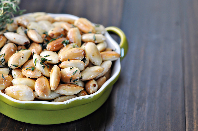 Pan Fried Almonds with Thyme