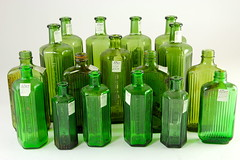 2031. Lot of (17) Green Glass Apothecary Jars