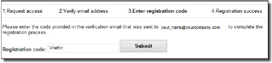 "Enter registration code from the verification email received and click ""Submit"" button"