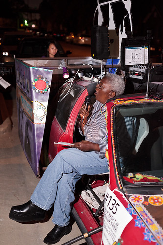 Donna Garrett performing poem on VBB's art car