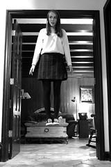 Day 205 (Explored) (elizabeth.littlefield) Tags: portrait bw girl photoshop self project uniform floating levitation skirt 365