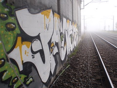 Foggy day (KeepRunnin') Tags: bridge wall train one graffiti paint tracks burner maling pans panser