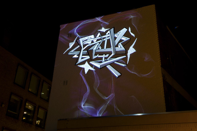 glow graffiti projection