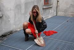 shovelandglasses (jennymckaysfashionandmusic) Tags: red music brown sunglasses leather fashion lunch king break mckay dress jenny jacket goran stefanovic