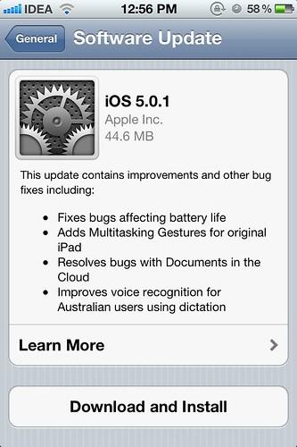 iOS 5.0.1 - OTA Update