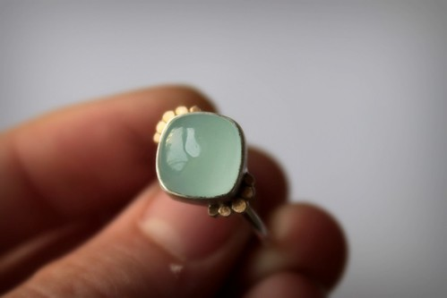 aquamarine, 14k gold and sterling silver ring