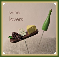 classic cheeses pin topper and wine bottle (Pinks & Needles (used to be Gigi & Big Red)) Tags: wine swiss rustic grapes napa appetizer etsy platter wedge winecountry apps bleucheese gigiminor pinksandneedles sewingpin