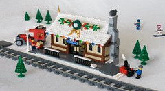 Winter Village Train Depot (ted @ndes) Tags: christmas city winter chimney holiday snow clock station train truck lego depot snowblower redux 7777 wintervillage