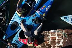 James attempts a dismount