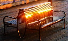 A golden moment (peggyhr) Tags: light sunset sunlight canada metal bench golden bc northvancouver lonsdalequay woodendeck peggyhr 100commentgroup mygearandme ringexcellence blinkagain p1080748ab