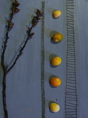 branch shells and ladders (annemurrayceramics) Tags: brown shells green grey pattern circles stripes surface day1 ochre twigs ladders