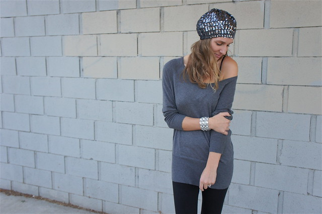 Gray and black outfit