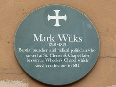 Photo of Mark Wilks and St Clement's Chapel, Norwich green plaque