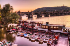 Boats, bridge and sunset (Miroslav Petrasko (blog.hdrshooter.net)) Tags: bridge canon boats eos boat republic czech prague tripod sigma prag praha praga most 7d 1020mm vltava hdr karlov republika karls ceska photomatix theodevil hdrshooter